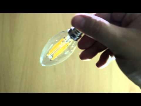 LED Filament candle 4W, Warm White 2700K. Светодиодная лампочка филамент, 4Вт.