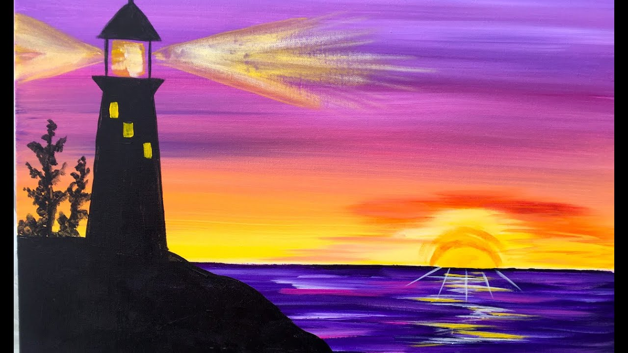 sunrise lighthouse step by step acrylic painting on canvas for beginners youtube
