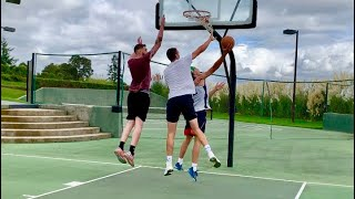 "CRAZY 1v1v1 Basketball vs 6'9"" & 6'10"" College Teammates! Loser Buys Winner ANY Pair of shoes!"