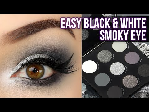 easy beginner black  white smoky eye makeup tutorial