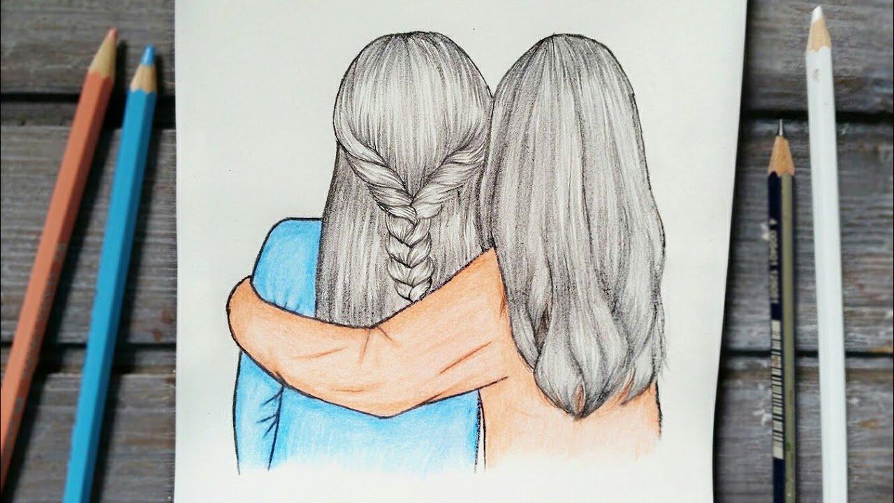 رسم افضل صديقات خطوة بخطوة Best Friends رسم بنات تسريحات شعر من