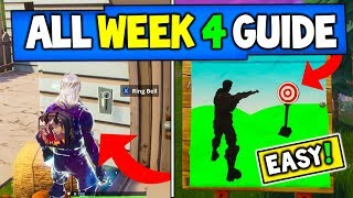Fortnite WEEK 4 CHALLENGES GUIDE! - SHOOTING GALLERIES Locations, + SECRET Banner + MORE!