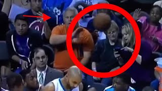 Woman Distracted At NBA Game Takes Basketball To The Face!