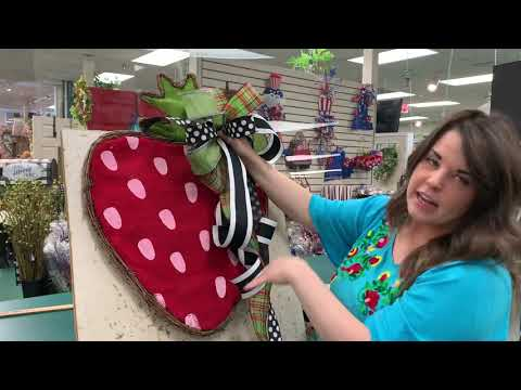 STRAWBERRY door decor floral swag with Anna Dee's Louisville