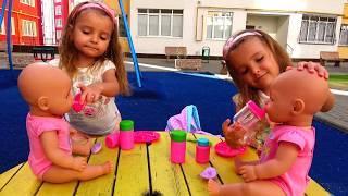 КАК МАМА Девочки играют в  Куклы ПУПСИКИ Беби Бон Настя / Magic Twins Pretend Play with Baby Dolls