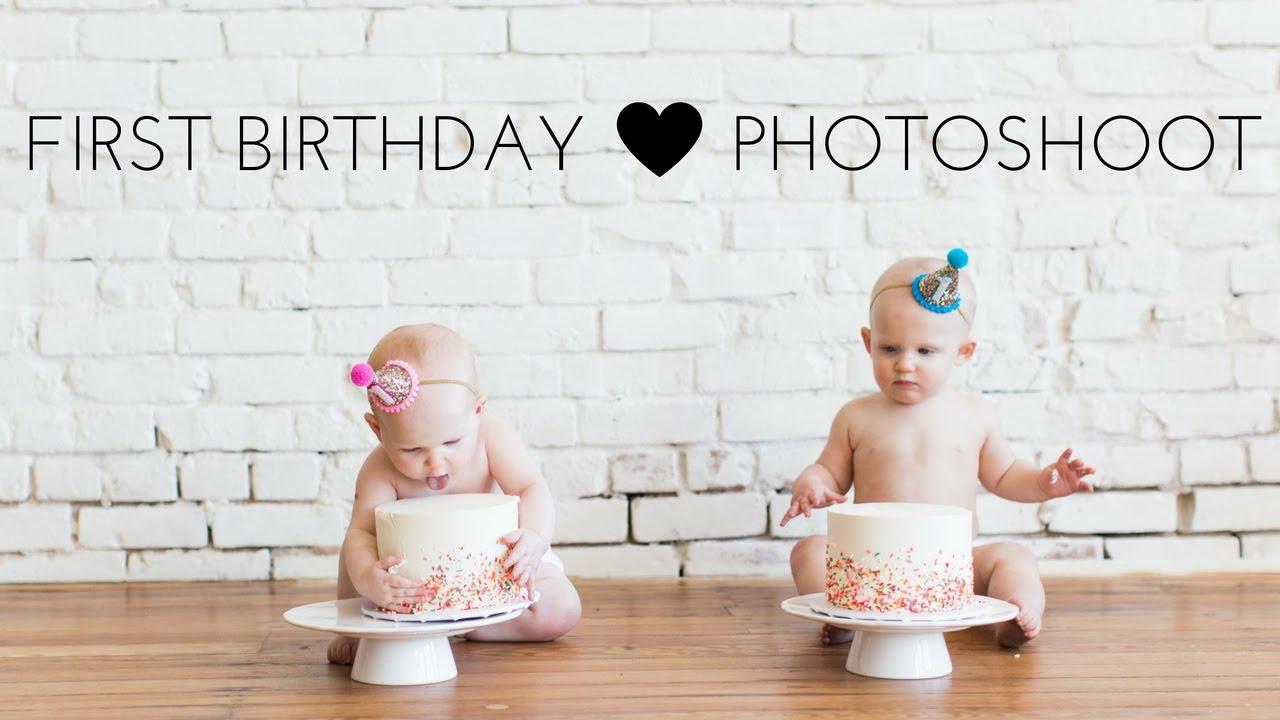 First Birthday Photoshoot Cake Smash Twins Youtube