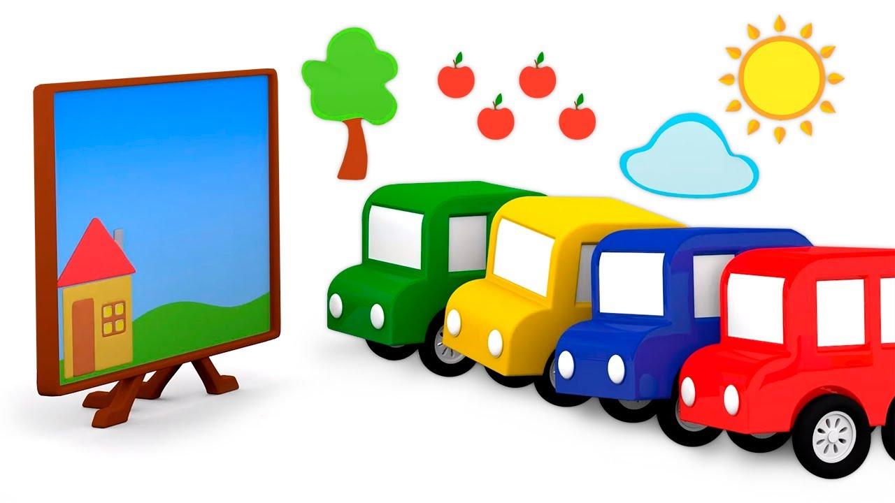 Os 4 carros coloridos procuraram adesivos para completar o desenho! Desenhos animados para crianças