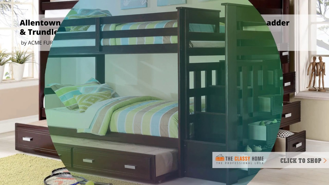 Elegant Allentown Twin/ Twin Bunk Bed With Ladder And Trundle Video From Coaster  Furniture