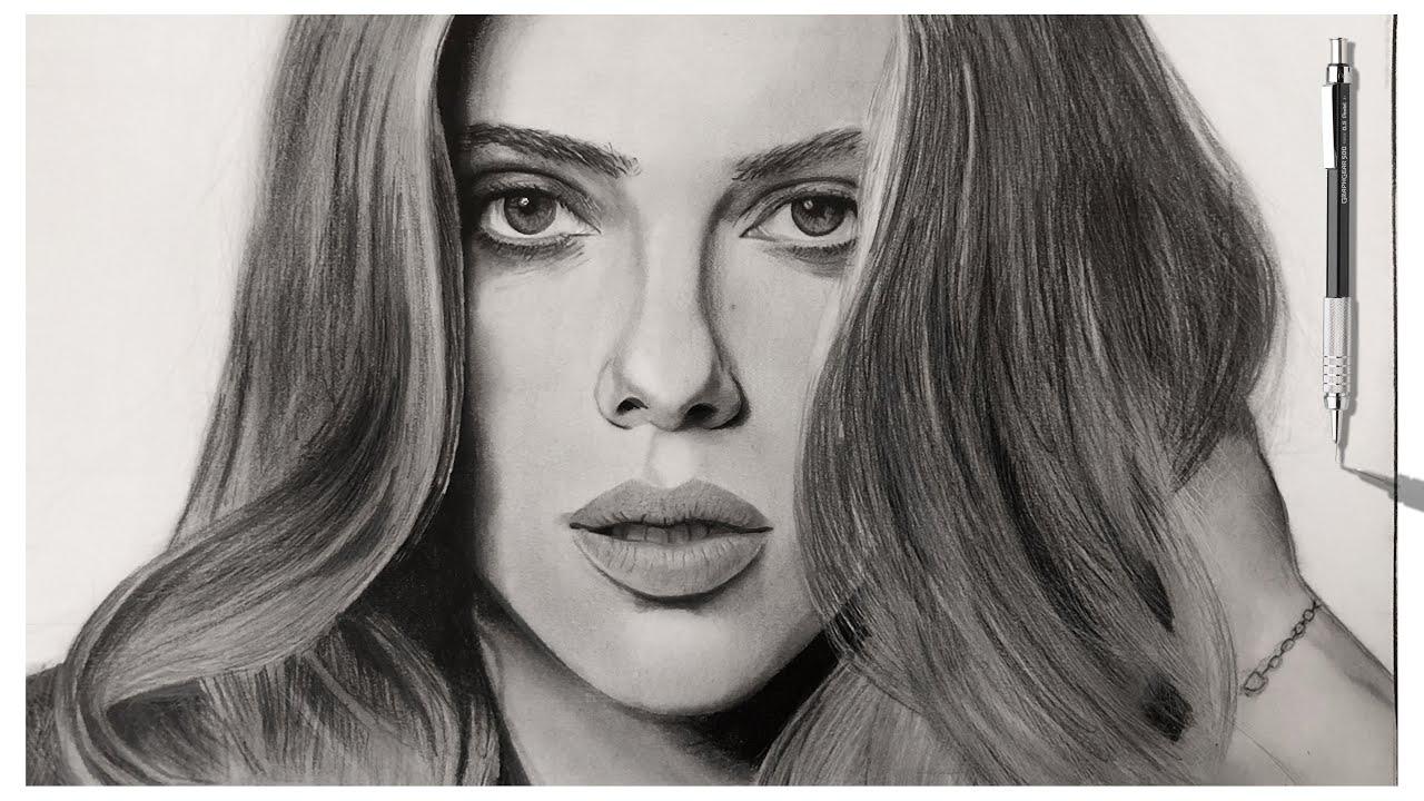 Drawing Scarlett Johansson Realistic Pencil Drawing Of Scarlett Johansson Time Lapse Youtube
