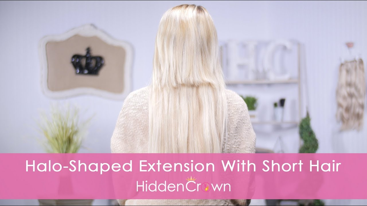 Halo Shaped Extension With Short Hair Hidden Crown Youtube