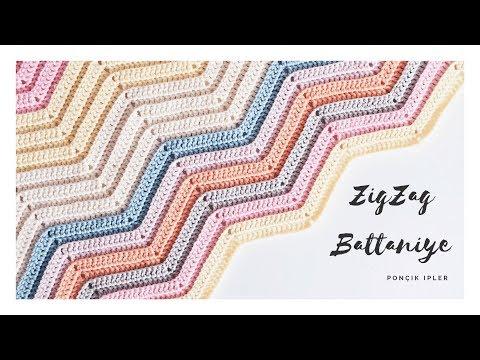 Zigzag Battaniye Yapılışı / İki Farklı Zigzak Örgü Modeli (YENİ BAŞLAYANLAR İÇİN DETAYLI ANLATIM)