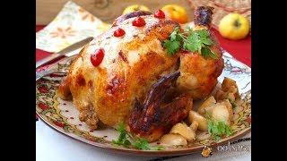 Курица запечённая с яблоками в рукаве