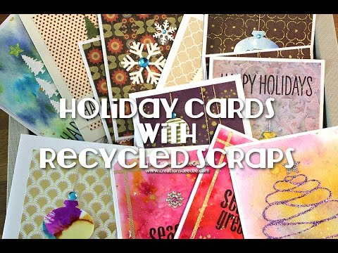 holiday + christmas cards with recycled scraps