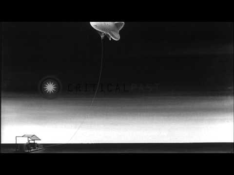 Animation shows the links of the cables of barrage balloons to detect and destroy...HD Stock Footage