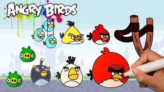 Teach Kids Learn How to Drawing Angry Birds - Learn Colors with Angry Birds Drawing