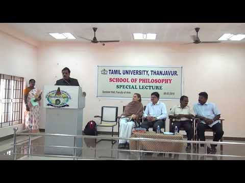 Dr.G.Bhaskaran speech at Tamil University Philosophy Dept Special lecture on 06.03.2018