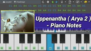 Uppenantha Ee Premaki ( Piano Notes - Arya 2 | Tutorial | Learn Mobile Piano | Allu Arjun , Kajal