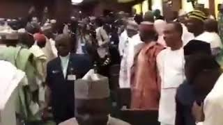 The arrival of President Muhammadu Buhari at the National Assembly to present 2019 budget
