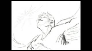 清水きよしさんのパントマイム作「翼」から描いた鉛筆スケッチを、パラ...