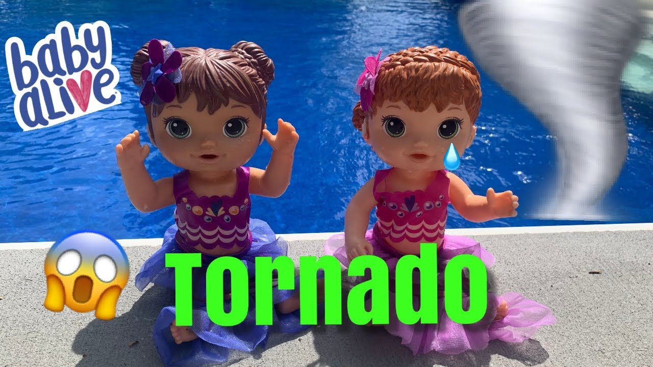 Baby Alive Mermaids 🧜♀️  Go Swimming in The Pool First Tornado 🌪