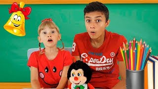 Alеna and Pasha in school show animals Kids pretend play by Chiko TV