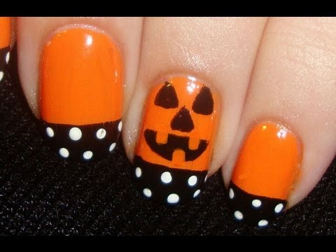 Easy and Simple Halloween Nails - YouTube