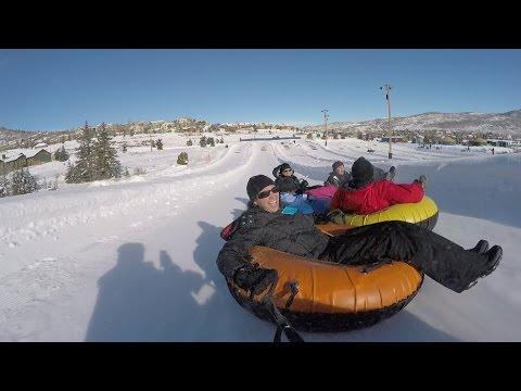Snowtubing Fun POV at Gorgoza Park in Park City Utah