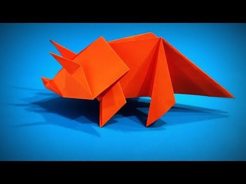 How to Make a Paper Dinosaur Triceratops DIY | Easy Origami ART | Paper Crafts