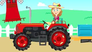 Tractor on a Trailer - Departure for Coal | Agricultural Vehicles for Kids (ABC Tales) Traktory