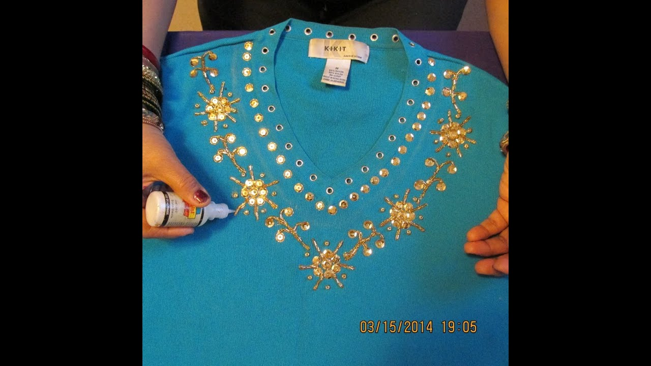 GORGEOUS SHIRT DECORATION WITH SEQUINS BEADS AND GLITTER