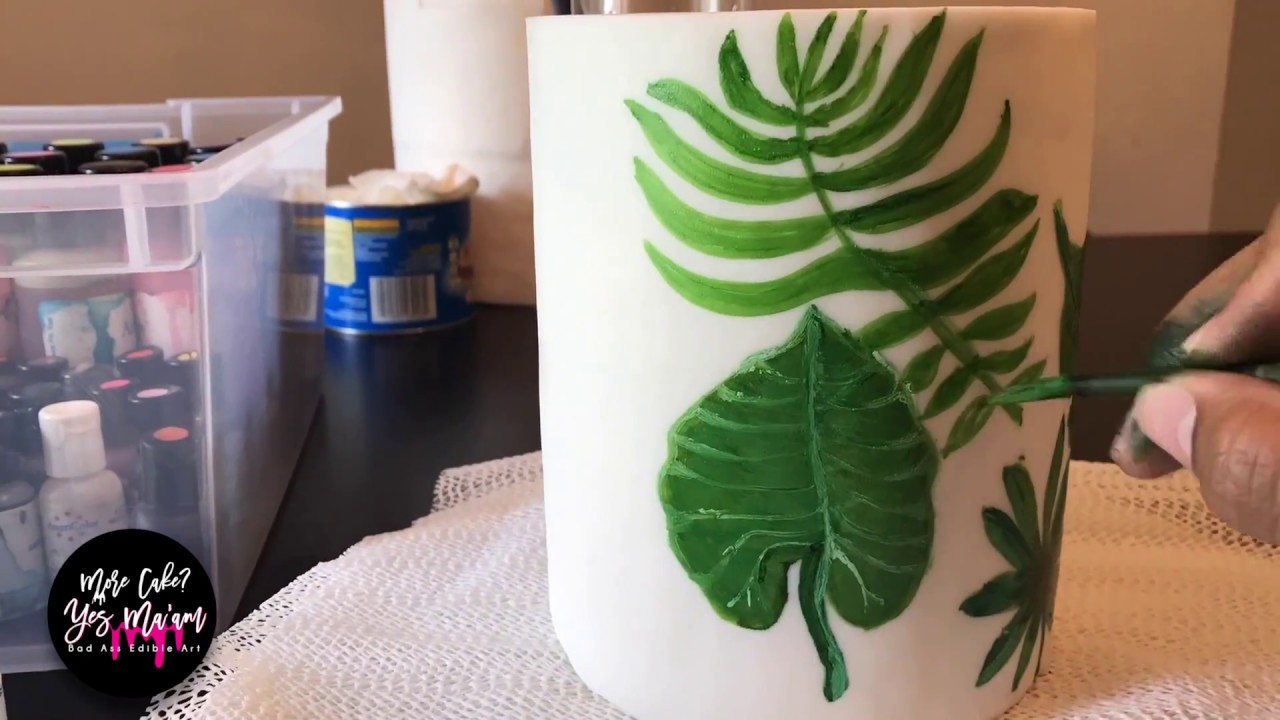 FREE HAND CAKE PAINTING TROPICAL LEAVES