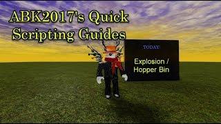 Roblox Scripting Guide: Explosions et Bacs Hopper