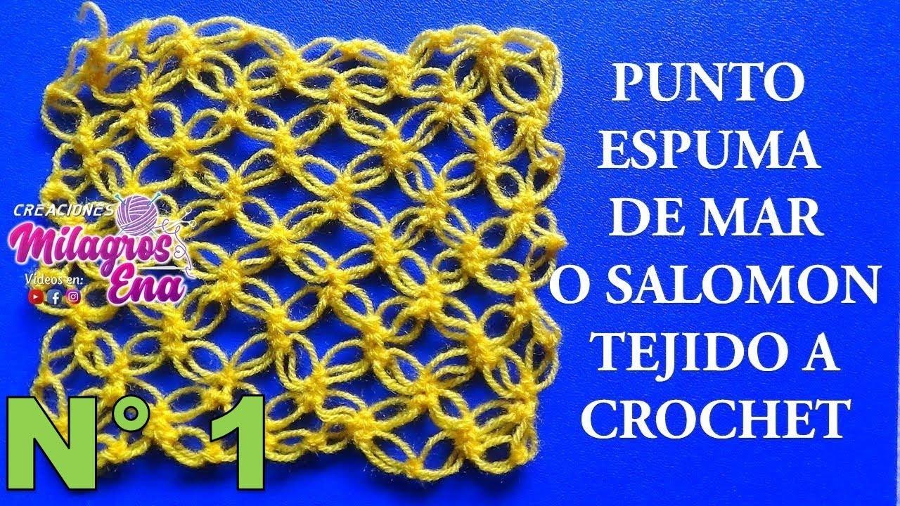 Punto a Crochet espuma de mar o punto salomón paso a paso para ...
