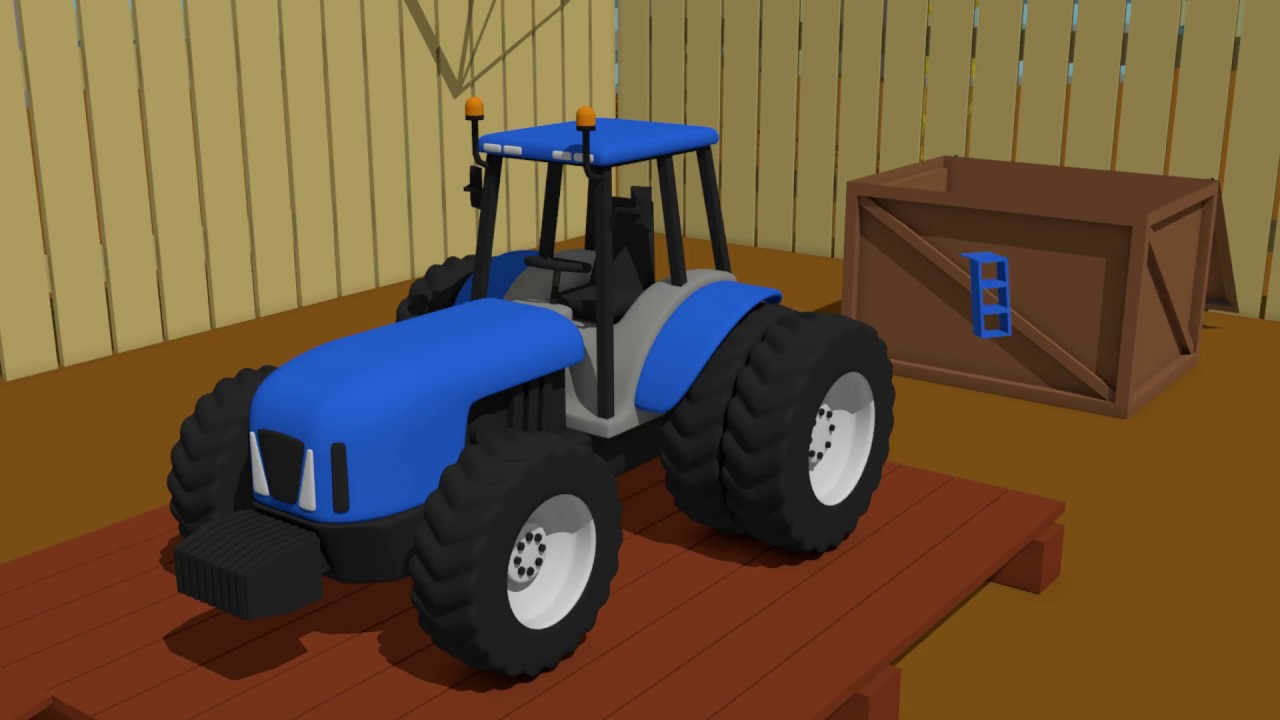 blue tractor for kids formation and uses building niebieski