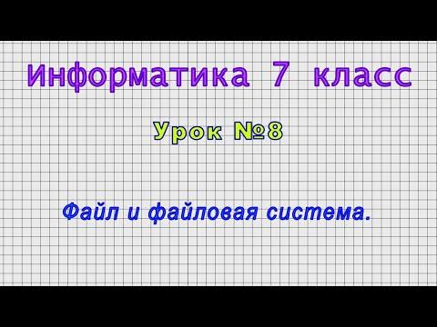 Видеоурок файлы и файловая система