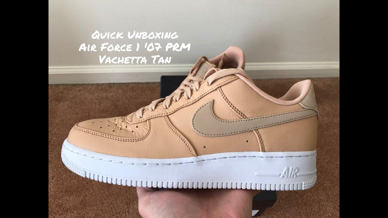 Quick Under Retail Unboxing Air Force 1 '07 PRM Vachetta Tan
