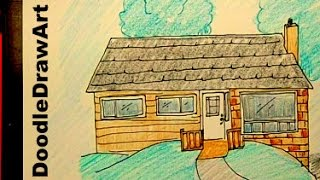 Drawing: How To Draw a House - Step by Step