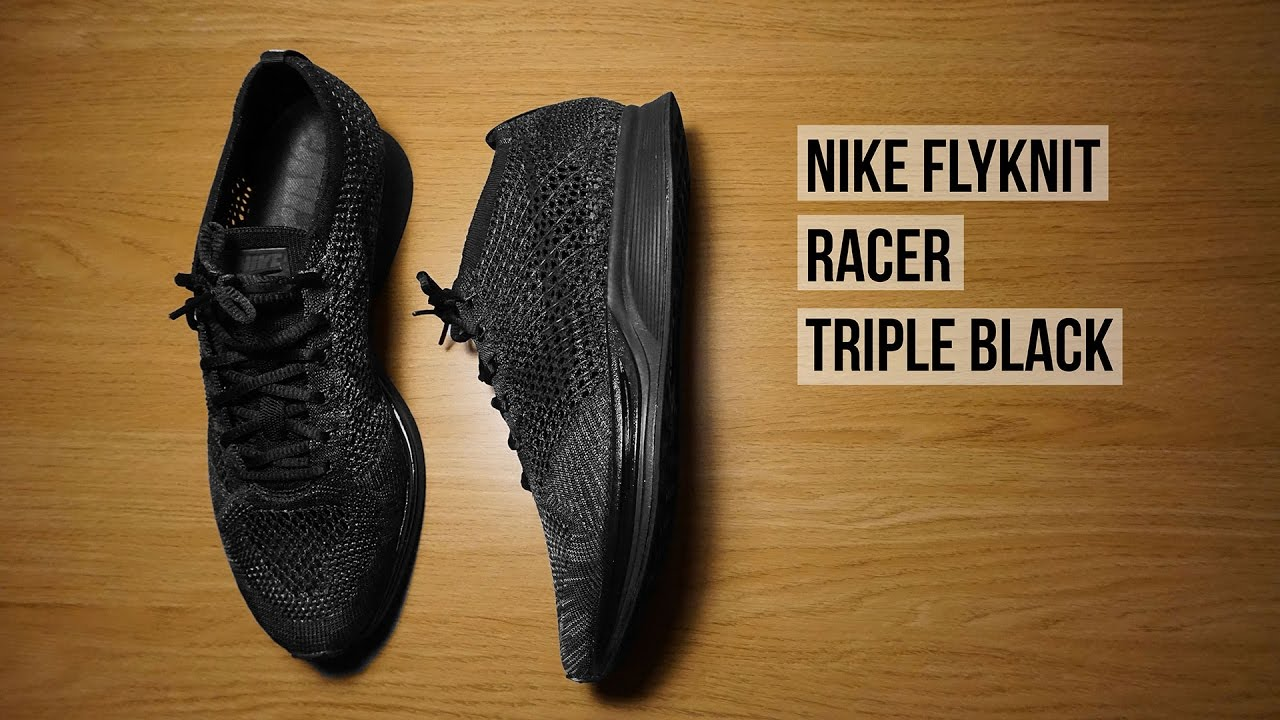 542120e43423 Nike Flyknit Racer Triple Black Unboxing - YouTube