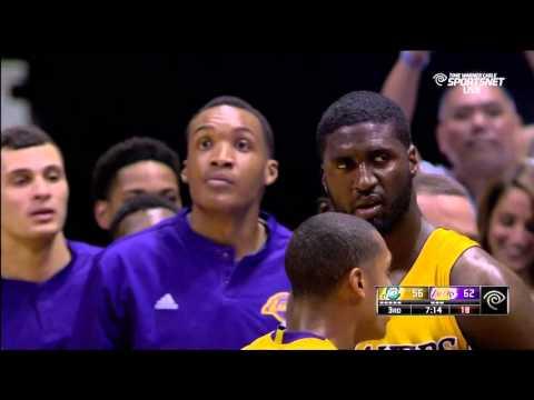Trevor Booker ejected for swinging at Roy Hibbert: Utah Jazz vs. Los Angeles Lakers preseason