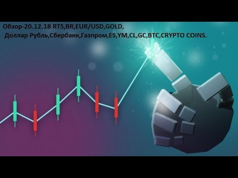 Обзор-20.12.18 RTS,BR,EUR/USD,GOLD, Доллар Рубль,Сбербанк,Газпром,ES,YM,CL,GC,BTC,CRYPTO COINS