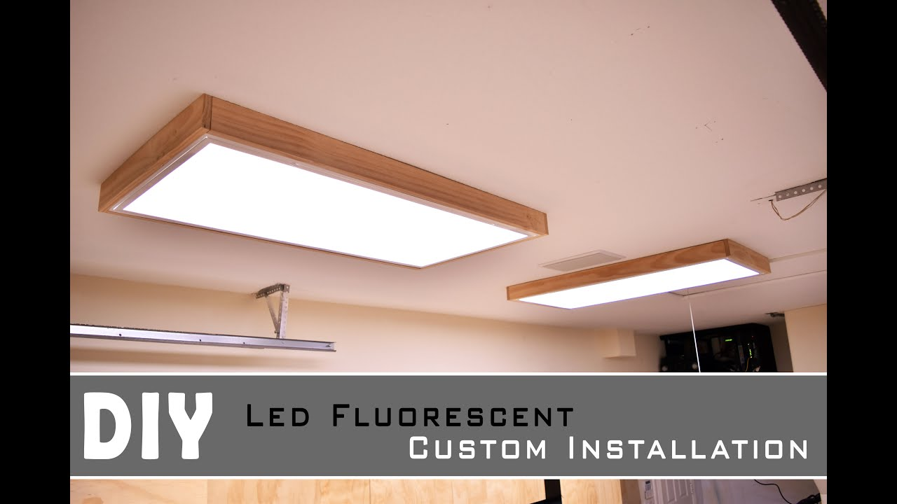 Installing Led Fluorescent light In the Garage - shop - YouTube