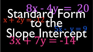 Convert from Standard Form to the Slope Intercept Form of a Line