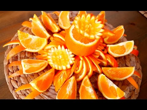 Art in orange flower platter fruit carving garnish - How to slice strawberries for decoration ...