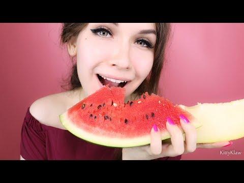 ✧ АСМР Арбуз и Дыня 🍉 Итинг, Поедание, Таппинг    ASMR Eating, Mukbang  👅 Watermelon ,Tapping