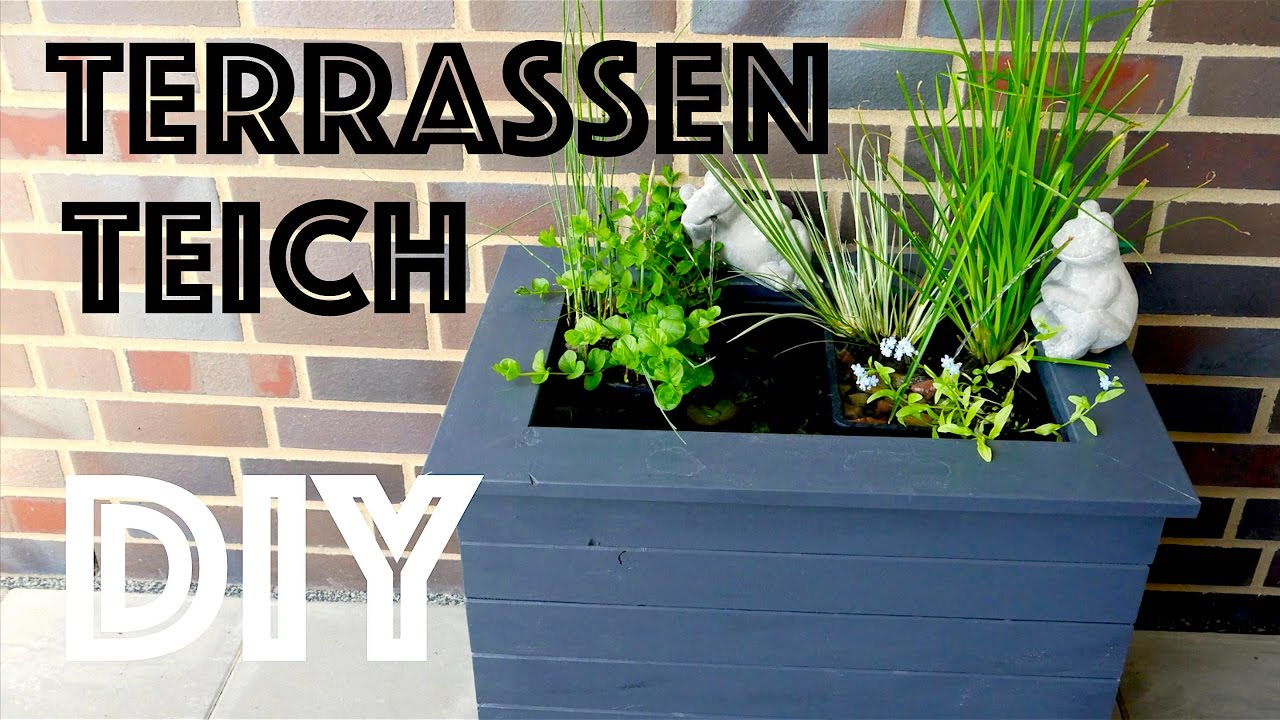 diy mini terrassenteich selber bauen mit springbrunnen. Black Bedroom Furniture Sets. Home Design Ideas