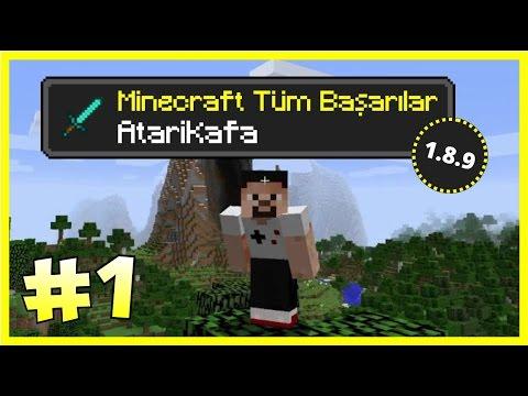 Minecraft Türkçe Survival - Türkçe Minecraft - Tüm Başarılar (1.8.9) - Bölüm 1 - Atari Kafa