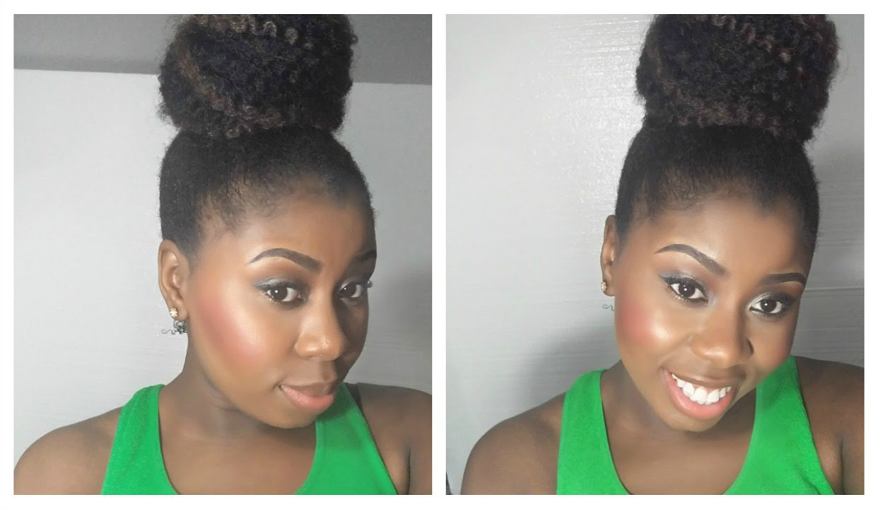 HOW TO: High Bun With Weave On Natural Hair