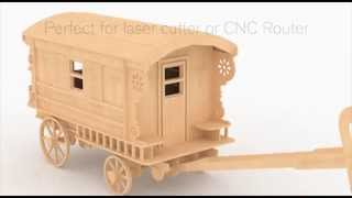 Burton Gypsy Wagon Doll House Laser Cut Or Cnc Router Pattern