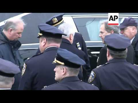 Thousands arrive for funeral for murdered NYPD officer
