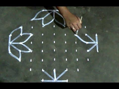 Amazing Rangoli designswith 9x3 dots//Kolam designs with 9x3 dots